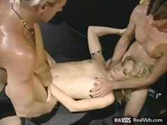 close-up, orgy, small-tits, blonde, mmf, double-blowjob, hardcore, realvids.com, vintage