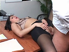 Secretary sativa rose in tights pounding on her bosses desk