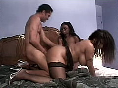 ebony, threesome, stockings, cum shot, deepthroat, anal sex, high heels, masturbation, tattoos