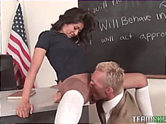 Wild schoolgirl blackmailing her teacher