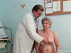 Mature old cunt gyno speculum examination with gyno instruments including clear