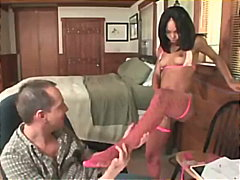 Marie luv in fencenet stockings getting her soles deep throated and screwed