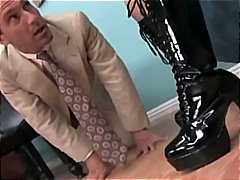 Compilation of hip high shoes and hook-up in latex footwear
