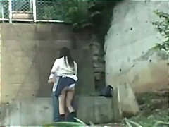 Schoolgirl having hookup in the park