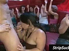 Buff stripper isn't surprised when these inebriated girls want to blow his manstick