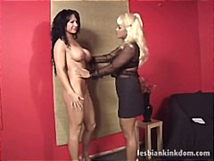 Beautiful brunette tries out for role of lesbo sub and wins