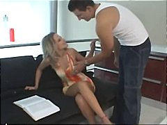 Steaming erotic hard-on deepthroating with amateurs gabi and rick on the couch