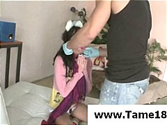Brunette teenage gets trussed up and tormented by her nasty tormentor