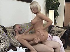 Mature blonde mandy dee juggles her enormous knockers as she gets plumbed by old guy