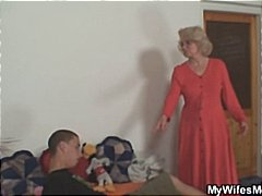 Wifey finds him pounding her old mom