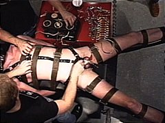 Extraordinary electro, nut bound taut, dangled in chain and confined in cords i use hitachi on him