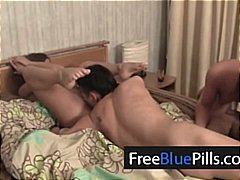 Two sweethearts women and a stud three way orgy