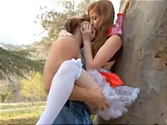 Lil' hookup railing fetish mask is a redhead