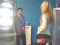 Kayden kross deep-throats a businessman in the bathroom