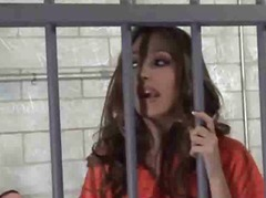 Jenna haze heads to jail & takes sausages in her vagina & booty