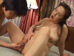 Mature asian female frigged and munched