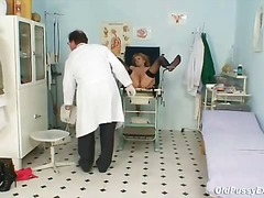 Thin mummy gyno clinic exam by insatiable doctor