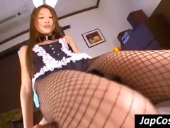 Bunny costume wearing japanese whorish fuckslut gets it on with an older guy