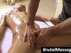Blonde gets an greased rubdown and then gets her fuckbox vibed