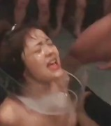 Youthfull asian slut gets several studs to sploog her with jizz on the face