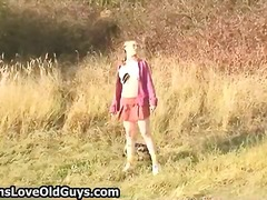 Teenage lady on a hike outdoor unclothes completely part3