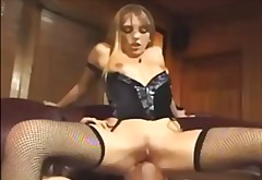 Cunnilingus and pulverizing in fishnet tights and a harness