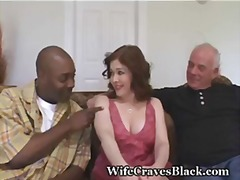 interracial, wife, hairy, share, swinger, busty, redhead