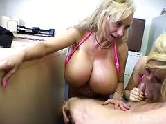 blowjob, office, big tits, blonde, threesome, bikini, titfuck, masturbation, cum shot, facial
