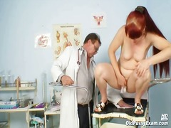 Mature olga has her ginger wooly cunt gyno speculum investigated by gyno doctor