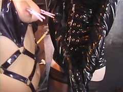 Gay ladies in leather do clipping of titts