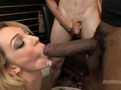 Lily luvs sit down on standing chisel of ebony fellow