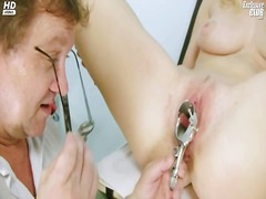 Big-titted jenny weird taco gaping onto gyno chair at horny gyno clinic