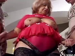 beautiful stags play with ample granny tits