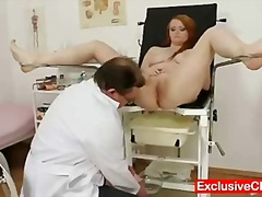 Redhead samantha checked by horny gyno doctor