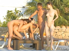 Fortunate man smashes trhee hprny fucksluts outdoor