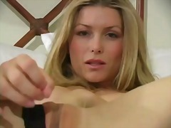 Insatiable blonde demonstrating her knickers
