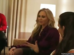 Julia ann and phoenix marie meet client for scorching three-way