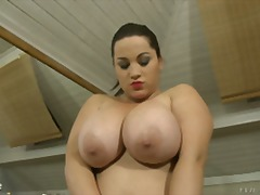 Chubby thick breasts play with herself then gets juice flagellated