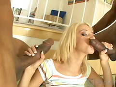 blonde, mmf, natural tits, hardcore, on top, interracial, big cock, shaved, 3some