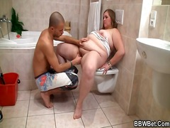 Naughty boy poundes chubby inwards the bathroom