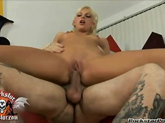Bitchy babe christine alexis sits her humid impure beaver onto a thellock wang and loves it