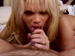 Sexy blonde bimbo performs a trampy oral pleasure on a dude's firm manstick