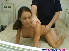 Thin dame gets torn up by a petite fuck-stick