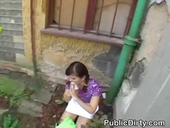 reality, outdoors, brunette, blowjob, public, facial, amateur, cumshot