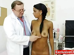 Bizarre gyno doctor checks super hot latina beaver