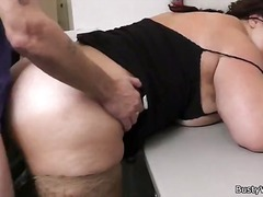 Chubby brunette drills big jizz-shotgun