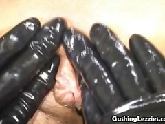 Sapphic sub can't stop blasting spunk as she's trussed and compelled to climax