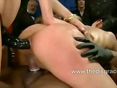 Tia lets six huge sausages nail her taut