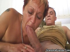 Lovely grandmother takes two phalluses at once