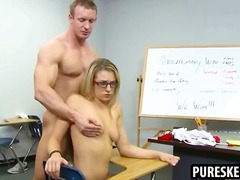 Blonde schoolgirl in glasses blows a rock hard manhood
